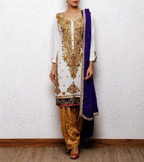 White, golf and Blue Georgette Salwar Kameez, punjabi suit #punjabisuit