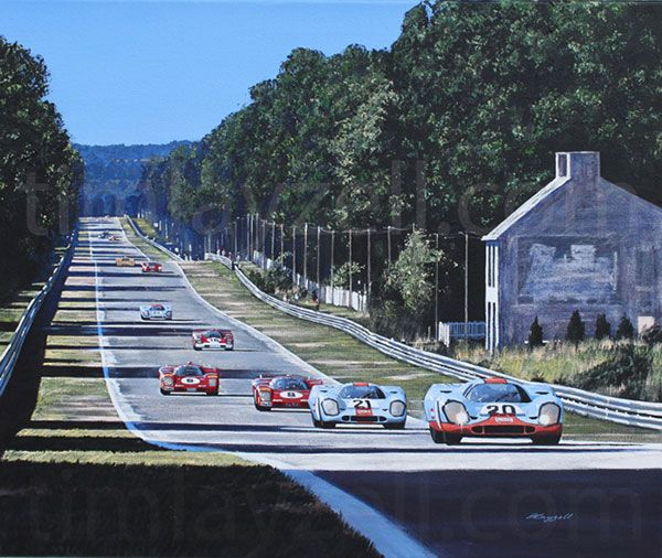 The iconic Porsche 917 of Jo Siffert and Brian Redman streaks down the Mulsanne straight pursued by the sister car of Pedro Rodriguez/ Leo Kinnunen and 2 of the rival Ferrari 512s of Vaccarella/Giunti and Merzario/Reggazoni at Le Mans in 1970.