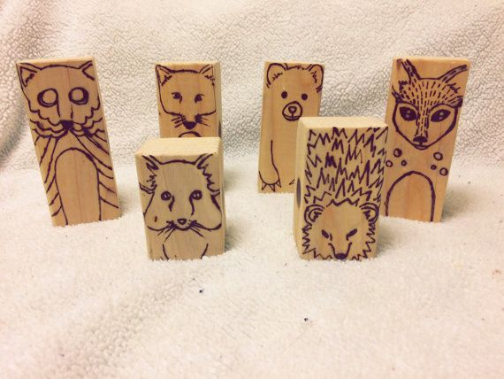 Wooden Animal Toy Blocks by HumbleGrind on Etsy