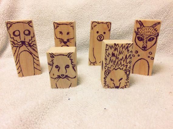 Wooden Animal Toy Blocks by HumbleGrind on Etsy
