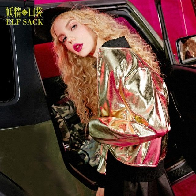 ELF SACK 2017 Spring Technology Style Women Jackets Bright Metal Color Short Coats Punk Long Sleeve Coat with Zipper Girl Jacket