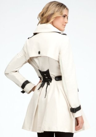 bebe trench coat from Silver Linings Playbook (in white). I have a similar all off white Bebe peacoat, LOVE it. Still one of my favs