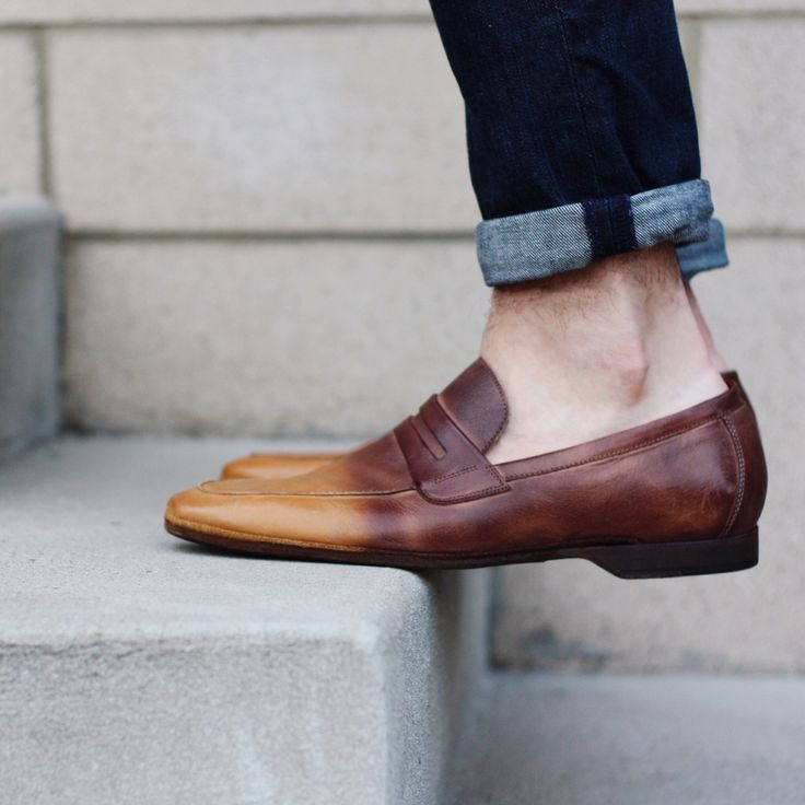 No-show socks complete the look. Only one way to wear these shoes