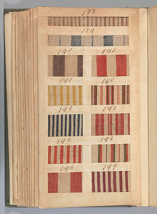 Textile Sample Book Date: 1771 Culture: British Medium: Paper, cloth binding, with attached samples of fustian