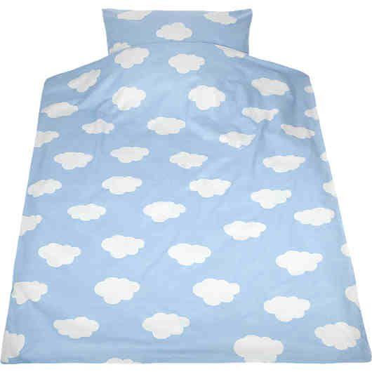 Kinderbettwäsche Wolken, Biber, blau, 135 x 200 cm,   myToys