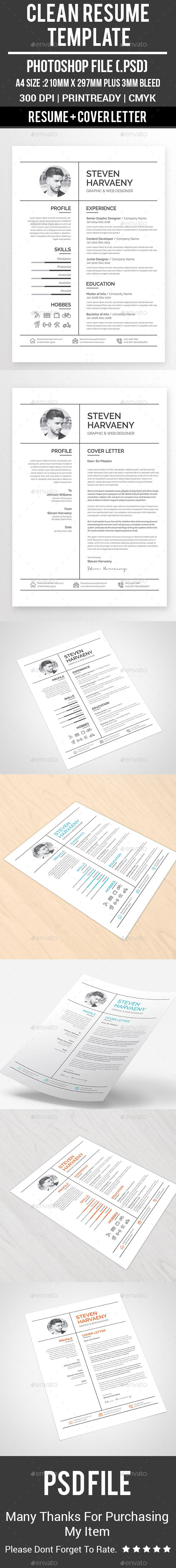 Clean Resume Template by Buntichauhan123 Clean Resume Template Specifications: A4 Resume (210x297 plus 3mm bleeds total 216x303) 300 dpi, CMYK photos areNOTincluded. All t