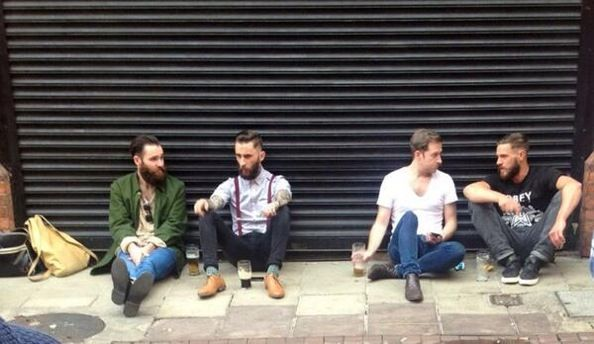 Boys Will Be Boys : Love this shot of some Dublin boyos enjoying an after work pint outside Grogans back in August #DublinStyle #Menswearstyle #hipsters #dapper #menswearstreetstyle #mensstreetstyle #streetstyle
