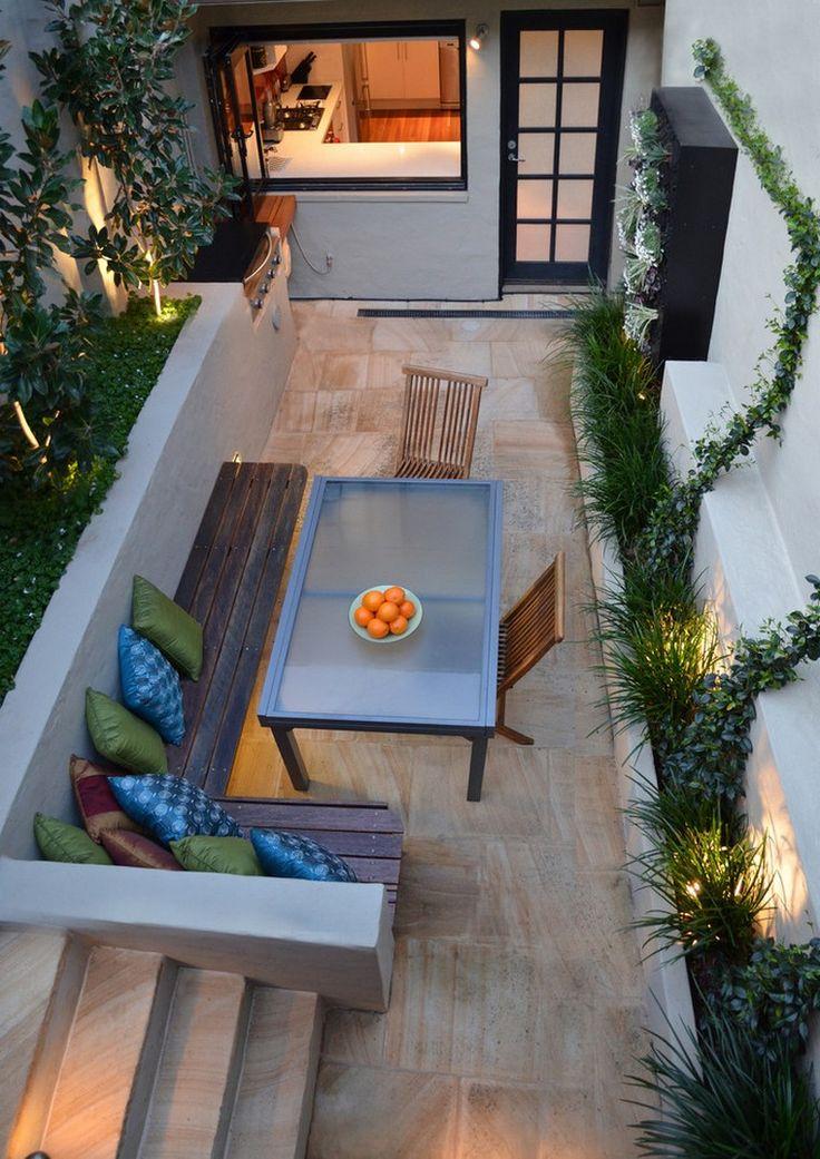 automne déco coussins banc jardin table idée décorer espace