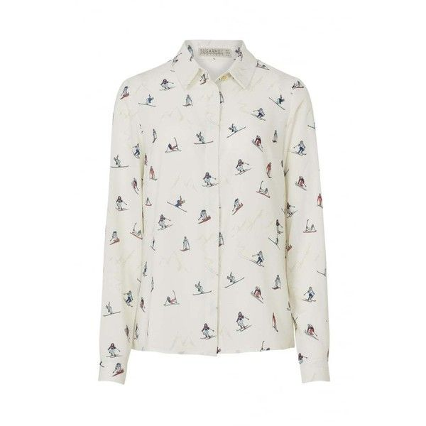 Sugarhill Boutique Blair Printed Shirt (195 BRL) ❤ liked on Polyvore featuring tops, cream long sleeve top, long-sleeve shirt, cream shirt, long sleeve shirts and shirt top