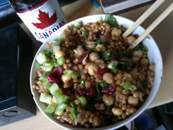 wheat berries + chick peas w/ kale, dried cranberries + green onion