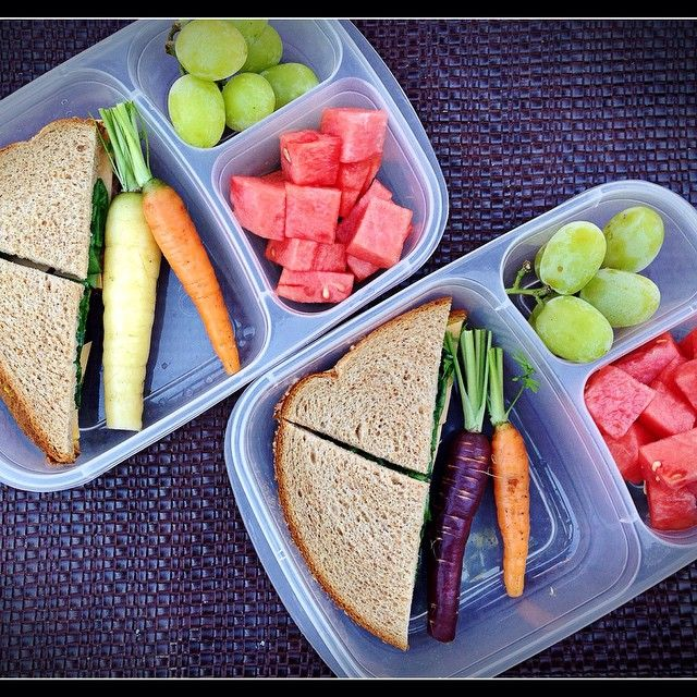Today's lunches are salami/cheese/spinach sandwiches, fresh picked carrots, jumbo grapes, and watermelon. This all fits perfectly in our EasyLunchboxes  via homemadehappymeals  - Instagram