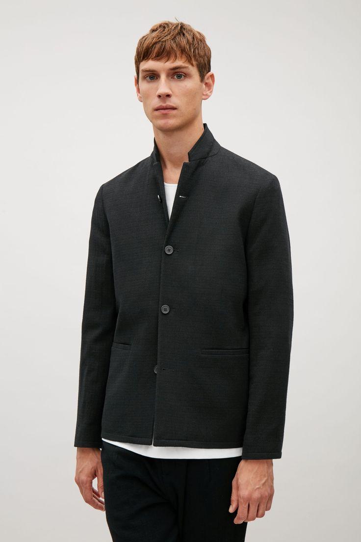COS image 2 of Wool crepe blazer in Black