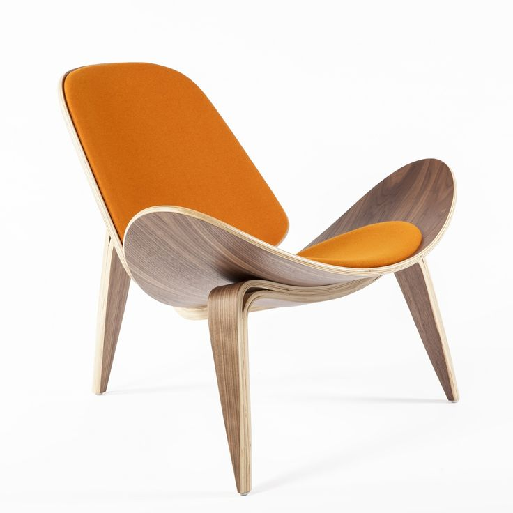 Orange CH07 Shell Chair Reproduction   Hans Wegner Mid Century Modern  Lounge Chair  orange. 40 best Mid Century Living Room images on Pinterest