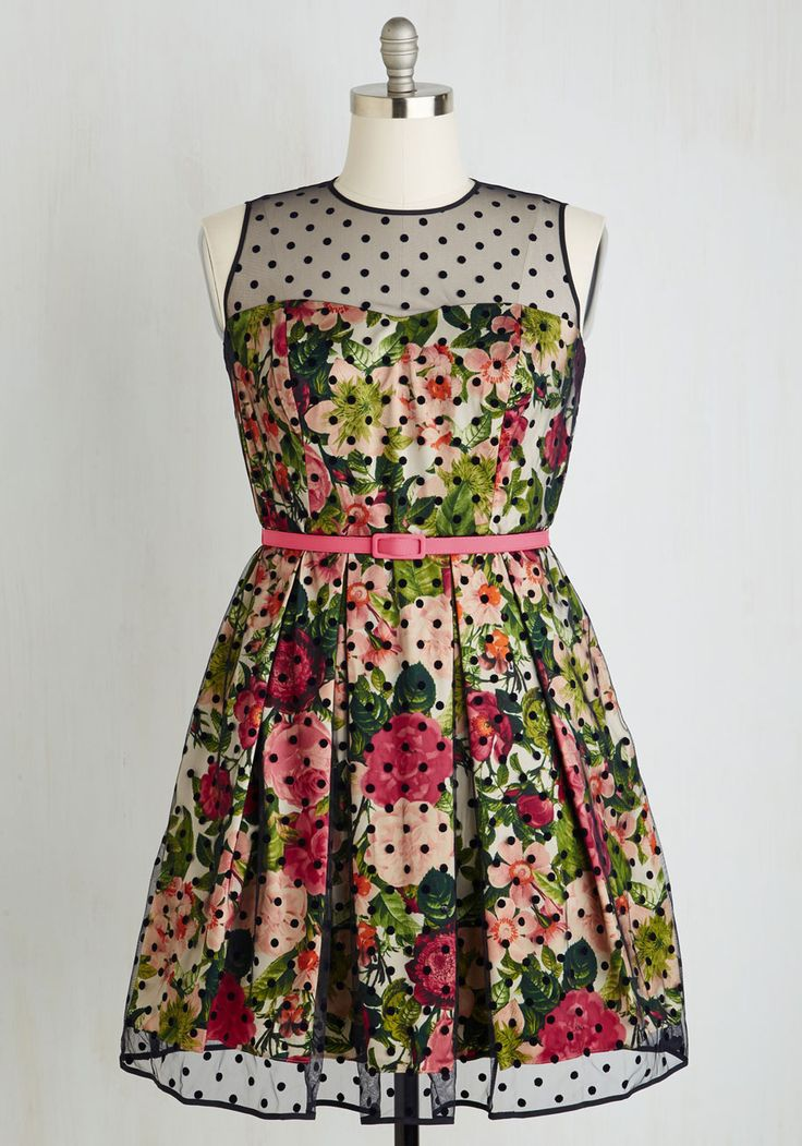 Leave Them Breathless Dress in Blooms - Plus Size - Multi, Green, Polka Dots, Floral, Print, Belted, Prom, Wedding, Party, Bridesmaid, Fit & Flare, Sleeveless, Best, Variation
