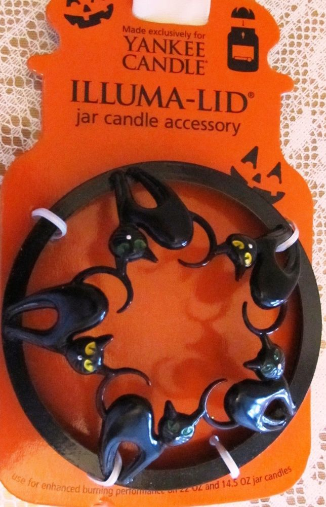 Yankee Candle Halloween Illuma-Lid Black Cats NEW #YankeeCandle