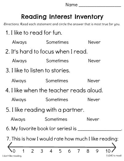 Get to know your students as readers and help them flourish! This Reading Interest Inventory to help you understand each students' feelings about reading. This information could be used in a variety of ways, including forming book clubs, choosing books for your classroom library, helping you choose read alouds, and by giving you a place to start when building excitement around new titles, authors, series, and genres.
