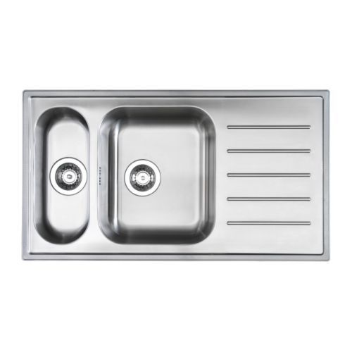 BOHOLMEN 1 1/2 bowl inset sink with drainer IKEA Reversible; can be used with the drainer to the right or left.