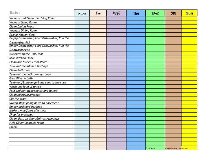 household chore chart template