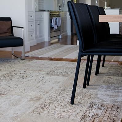 Timeless Beauty  Product- Vintage Turkish Patchwork rug colour - neutral.   The creative and artistic vision behind the concept of this rug was to recycle the timeless beauty and intrinsic quality of damaged, worn vintage carpets. Collecting and salvaging interesting fragments and then hand stitching the pieces together has resulted in a striking new form of artistic expression.