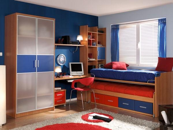 El azul y el rojo es una buena combinaci n para el cuarto - Habitaciones decoradas para ninos ...