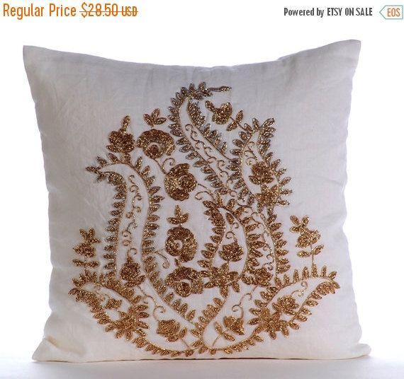 10% HOLIDAY SALE Gold Magical Garden - Check out my Gold & Silver #Zardozi Embroidered White Linen Throw Pillow Cover.