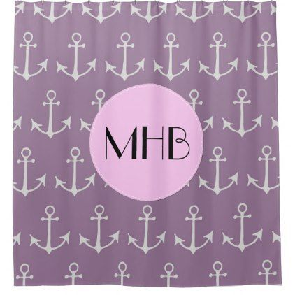 Monogram - Nautical Anchors Boat Anchors - Purple Shower Curtain - shower curtains home decor custom idea personalize bathroom