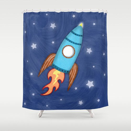 Rocket Ship Shower Curtain Children 39 S Bathroom Kids