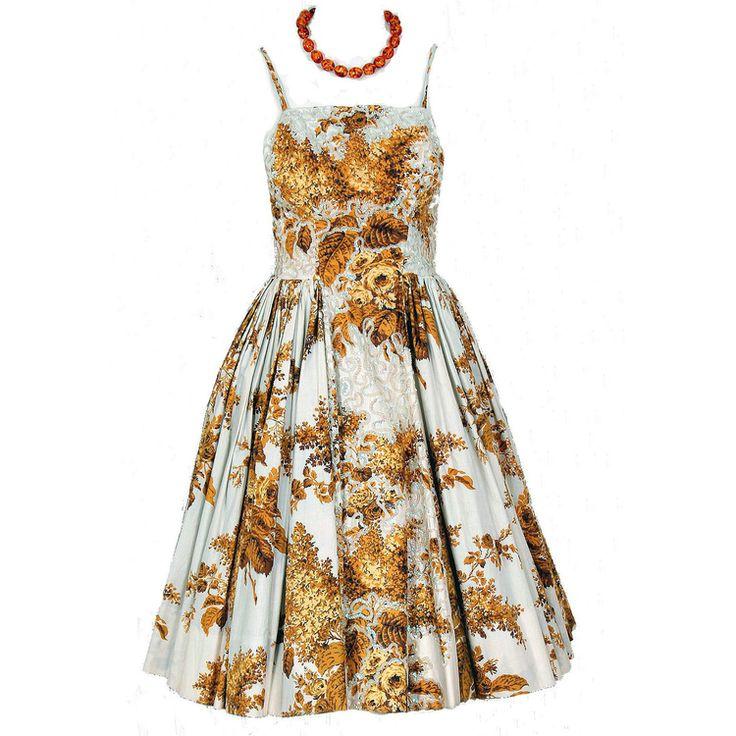 1950's Vintage Marigold-Yellow Floral Sequin Cotton Circle-Skirt Dress: Dresses 275, Circleskirt Dresses, Cotton Circles Skirts, Cotton Circle Skirts, Cotton Dresses, Sequins Cotton, Floral Sequins, Circles Skirts Dresses, Circle Skirts Dresses