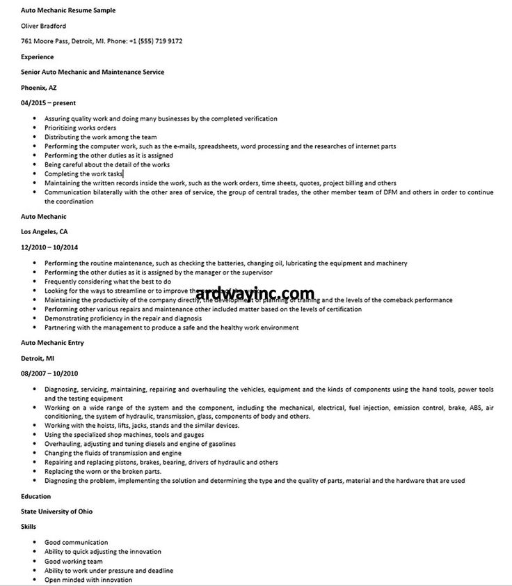 Auto mechanic resume sample in 2020 car mechanic resume