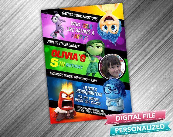 Disney Inside Out Birthday Invitation by kidspartydiy on Etsy