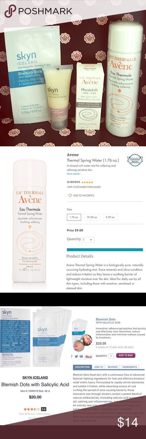 🚫SOLD {Avene/Skyn} Skincare Product Bundle 4 New & Unused Travel Size Skincare Products $32 Value   Avene Thermal Spring Water 1.76oz Avene Physiolift .06oz Skyn the Antidote .5oz Skyn Blemish Dots (1 sheet of 12 dots) Other