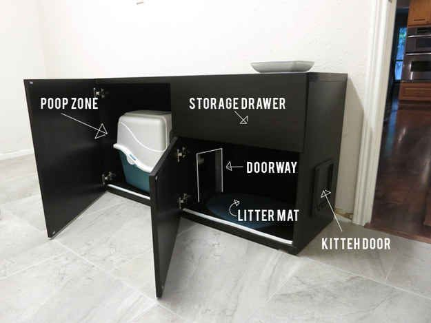 Turn a Bestå shelf unit into a a luxurious bathroom for your cat. |  Kind of weird if you think about it too much, but better than exposed litter boxes.