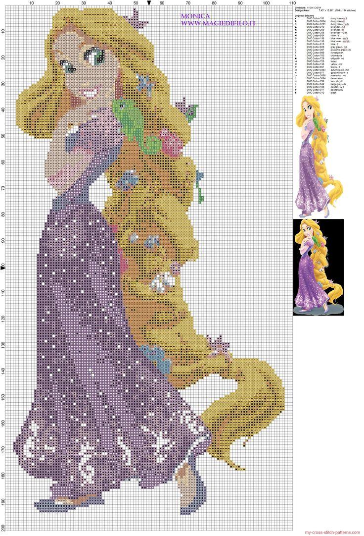 Princesa Rapunzel patron punto de cruz                                                                                                                                                                                 Más