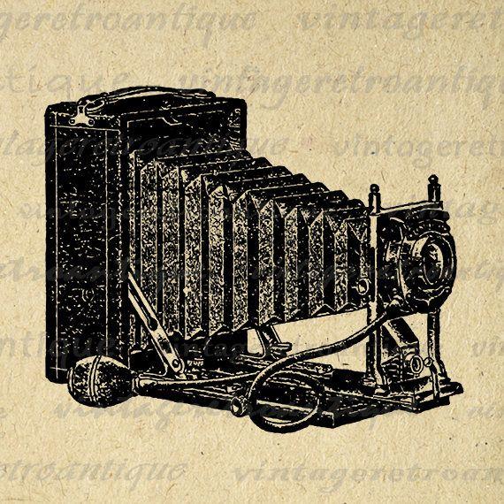 Printable Image Old Fashioned Camera Download Illustrated Graphic Digital Vintage Clip Art Jpg Png Eps 18x18 HQ 300dpi No.1445 @ vintageretroantique.etsy.com #DigitalArt #Printable #Art #VintageRetroAntique #Digital #Clipart #Download