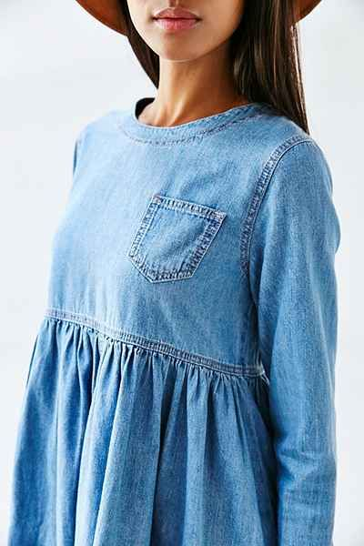 BDG Blue Jean Babydoll Dress - cotton