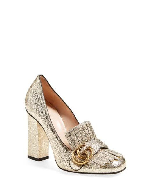 80e0d5b37 Women's Metallic Marmont Fringed Loafer Heel | Shoes | Shoes, Gucci marmont  pump, Gucci marmont