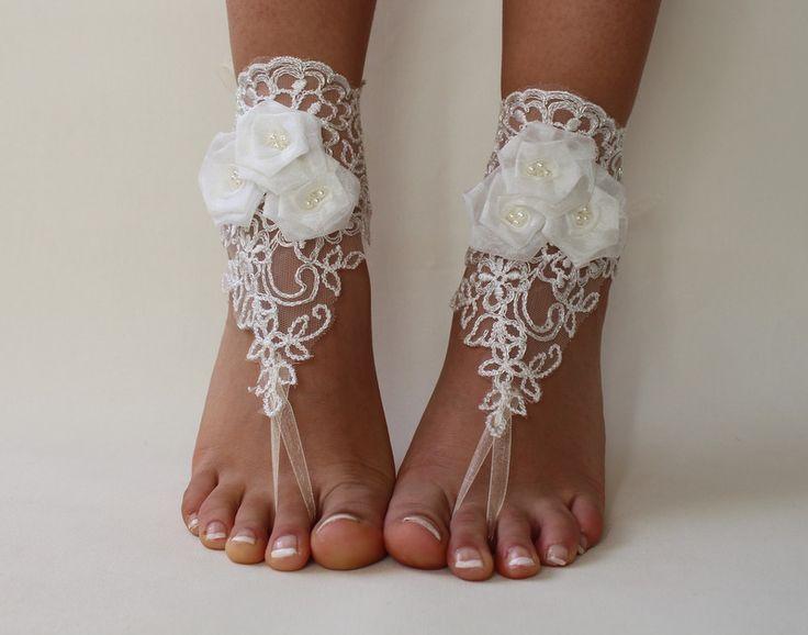 Barefoot Sandalet Fildişi Dantel, dantel plaj düğün ayakkabı, Barefoot Sandalet Dantel, Bangla düğün, dantel, Yalınayak