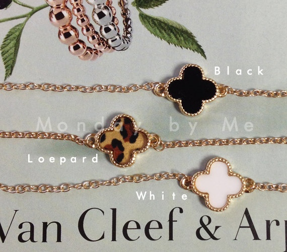 Van Cleef and Arpels style Clover Bracelet by Mondaybyme on Etsy, $8.50