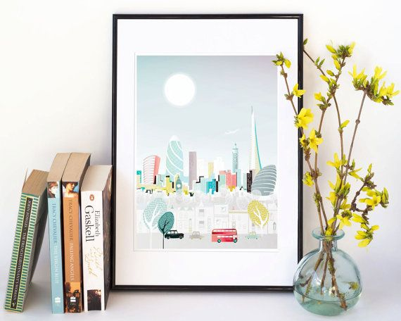 London Bus Print, Art Poster, London Skyline, Bus and Taxi Wall Art, City Paper poster, Cityscape illustration, office decor. Style: LBPP01