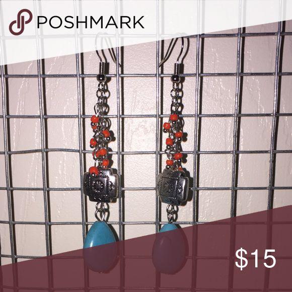 Turquoise Drop Dangle Earrings Turquoise Drop Dangle Earrings with red beading detail and silver south western designed bead. Nickel free earrings brand new never worn Jewelry Earrings #Drop&DangleEarrings