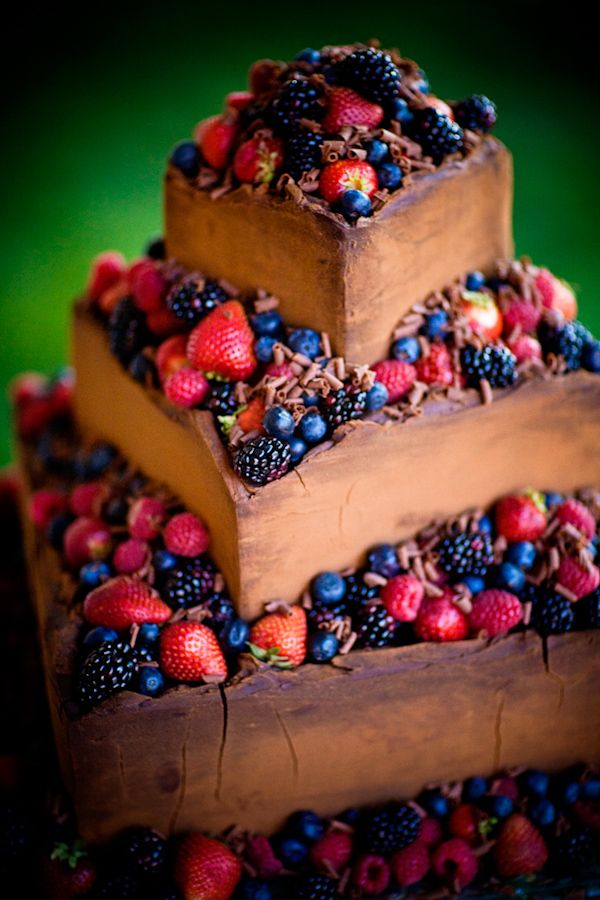 chocolate square layered cake with fruit   photo by Ben Chrisman Photography