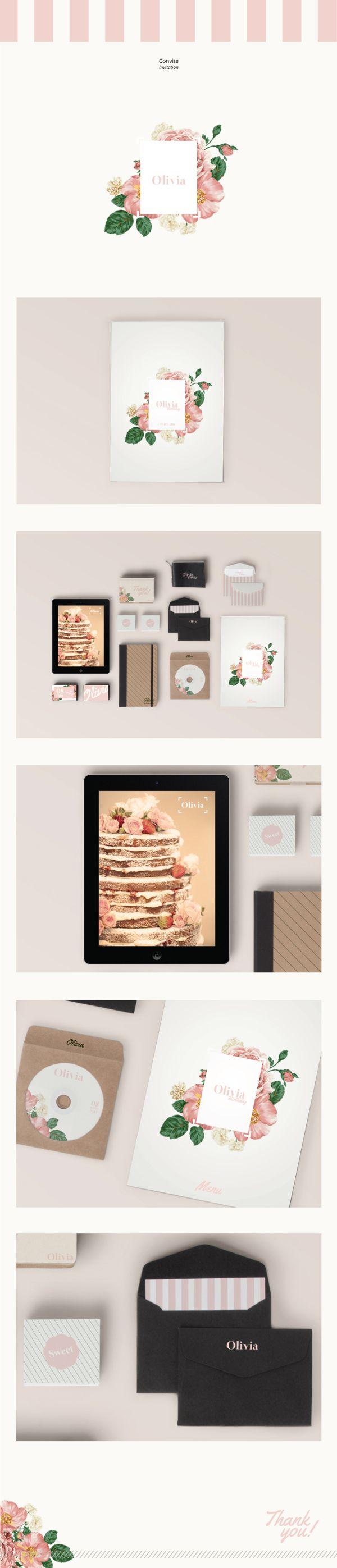 Convite | Invitation | OLIVIA by Cristiane Amaral, via Behance