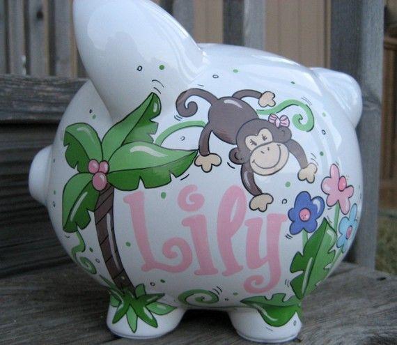 Large-Custom Personalized Piggy Bank-Monkeys