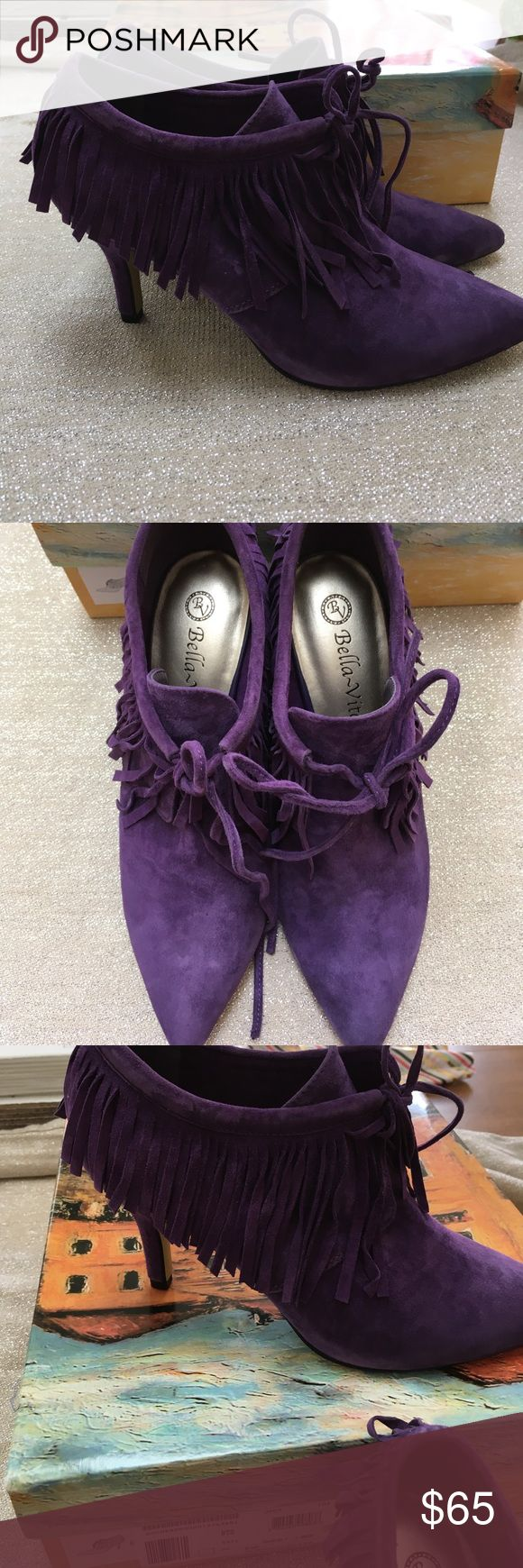 Bella Vita Demi Fringe bootie size 7 Bella Vita Demi Fringe bootie size 7.  Awesome purple color!  New in the box never worn!  Make an offer!! bella vita Shoes Ankle Boots & Booties