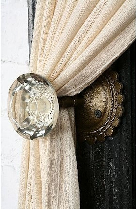 I really like this idea...use an antique door knob as a curtain tie back. Simple Everyday Glamour: Friday Inspiration