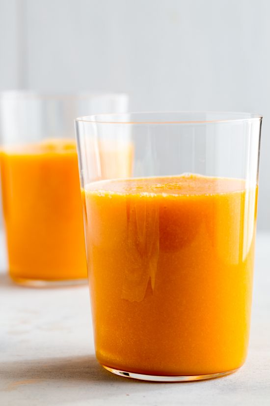 Holy Moly Healthy- Carrot Breakfast Juice- with coconut water, carrot, pear, mango, pineapple, Tumeric, etc.