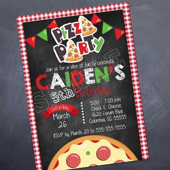 Pizza Party Birthday Invitation - Silvers Desgin