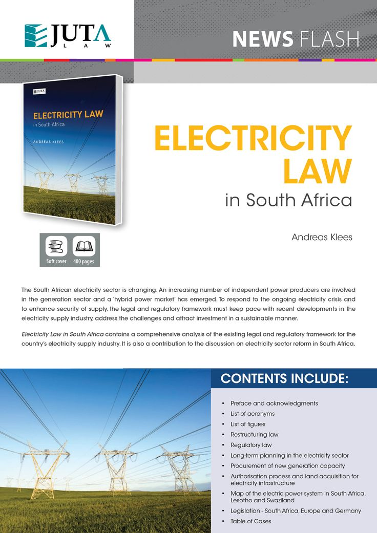 Electricity Law in South Africa contains a comprehensive analysis of the existing legal and regulatory framework for the country's electricity supply industry. It is also a contribution to the discussion on electricity sector reform in South Africa.  Published by Juta Law.