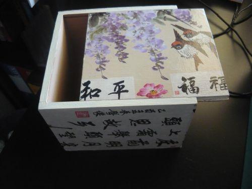 Scatoletta con decoupage con carte giapponesi
