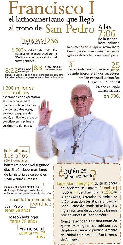 Francisco I, el latinoamericano que llegó al trono de San Pedro. #Roma #Vaticano #Papa #Religión #Iglesia